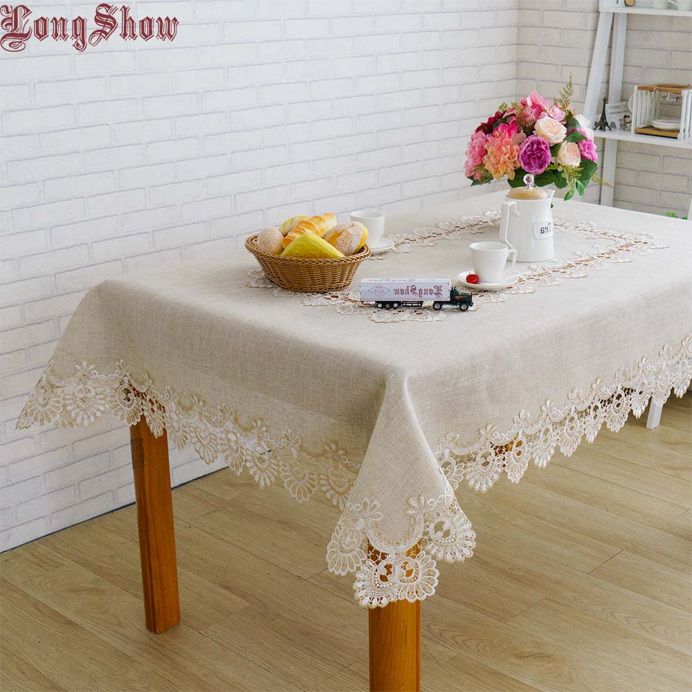 Free Shipping Vintage Style Sector Pattern Embroidered Lace Trim Handmade Patchwork Linen Burlap Table Cloth