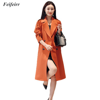 Spring Autumn 2019 Korean Fashion double-breasted long simple elegant Trench Coat Mujer temperament Belt casual Windbreak