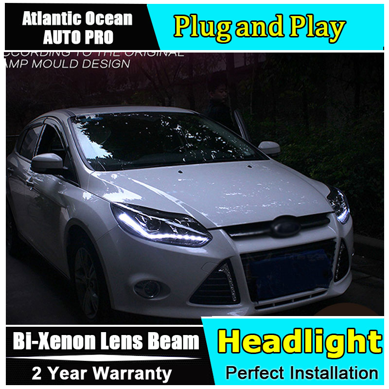 Car Styling LED Head Lamp for Ford Focus 3 headlights 2012-2014 Europe led guide light HID KIT Bi-Xenon Double Lens low beam