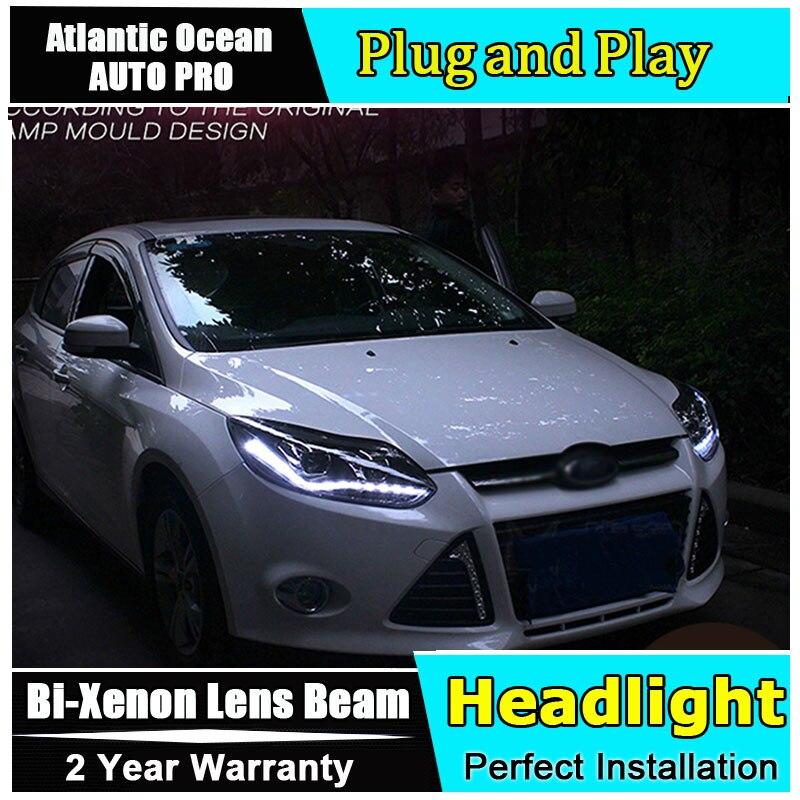 Автомобильный Стайлинг светодиодный головной фонарь для Ford Focus 3 головной светильник s 2012 2014 Европейский светодиодный направляющий светильник HID KIT Bi Xenon двойные линзы ближнего света