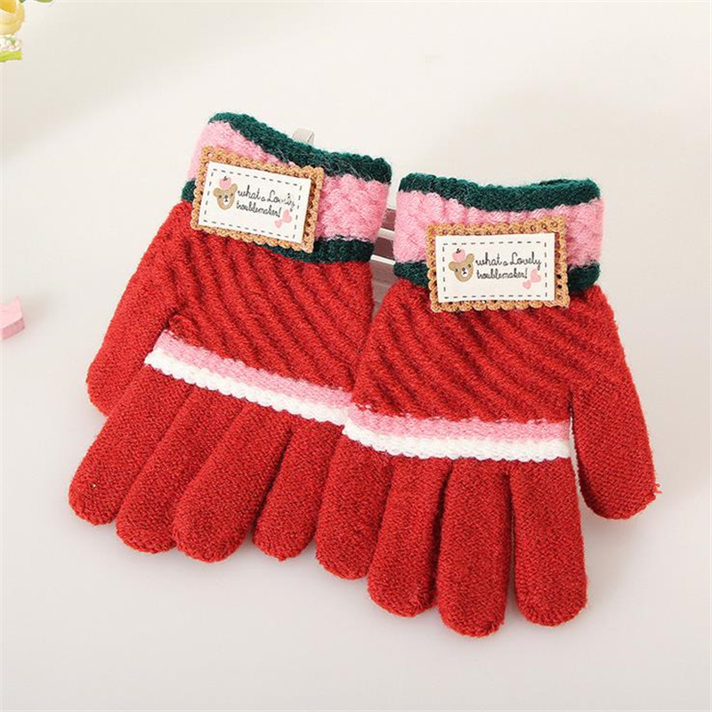 DoreenBow Random Color Knitting Fashion Winter Warm Cute Gloves Kids Thickened Whole Covered Finger Glove 16x7cm, 1 Pair