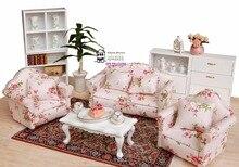 """1/4 """"casa de bonecas miniatura 1:12, sala de estar bonecas móveis sofá conjunto 4 sofás com pequeno estilo flor vermelho"""