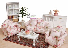 "5.24"" Dollhouse Miniature 1:12 Living Room Dolls Furniture Sofa Set 4 Couch with Little Red little flower Style(China)"