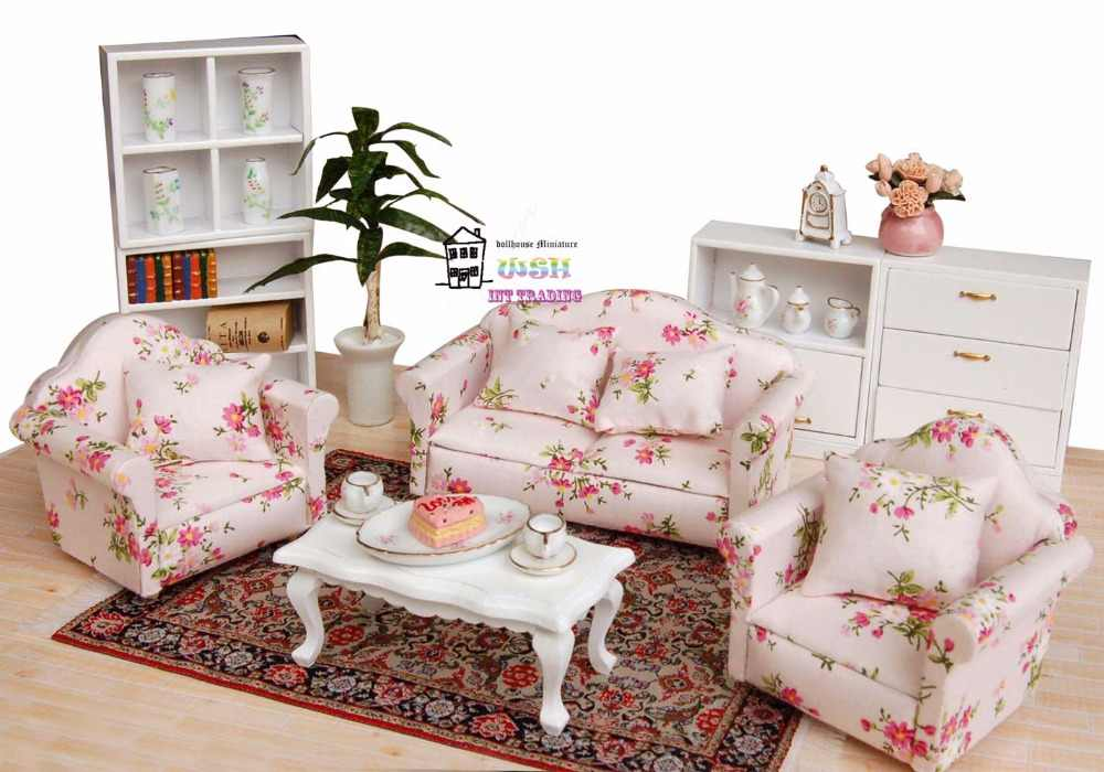 """5.24"""" Dollhouse Miniature 1:12 Living Room Dolls Furniture Sofa Set 4 Couch with Little Red little flower Style"""