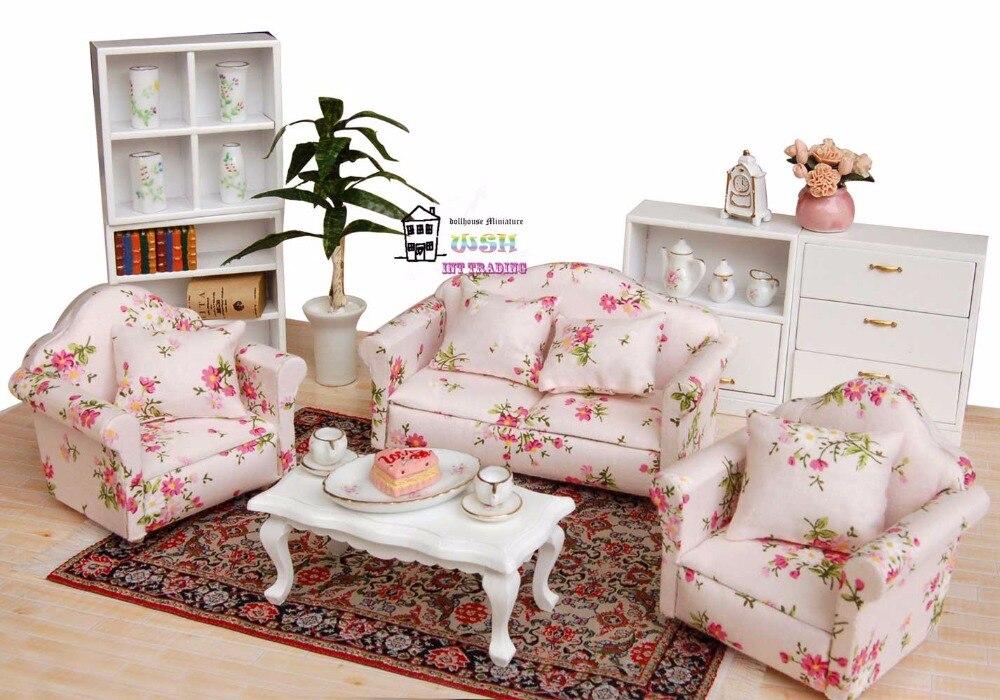 3Pcs//set Mini Dollhouse Furniture Flower Printing Cloth Sofa Couch /&2 HV