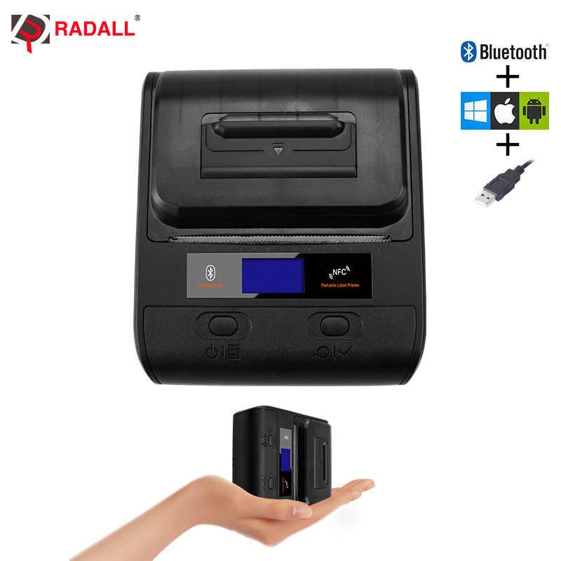 Impresora térmica Bluetooth portátil de 58/80mm impresora de etiquetas Móviles POS impresión inalámbrica de código de barras para Android/iOS /Win/Mac