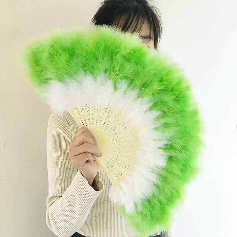 Retro Nostalgia Colorful Feather Hand Fan Live Dance Feather Fan Cheongsam Catwalk Feather Fan Gradient Abanicos Para Boda
