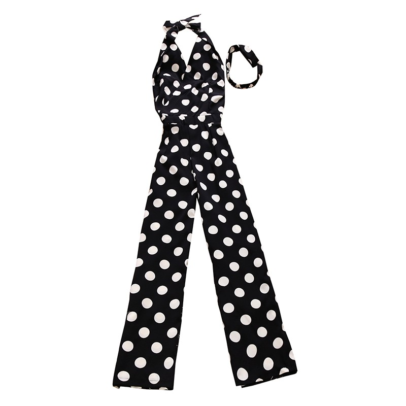 Dot Sexy Spaghetti Strap Rompers Womens Jumpsuit Sleeveless Backless Bow Casual Wide legs Jumpsuits Sexy Overalls