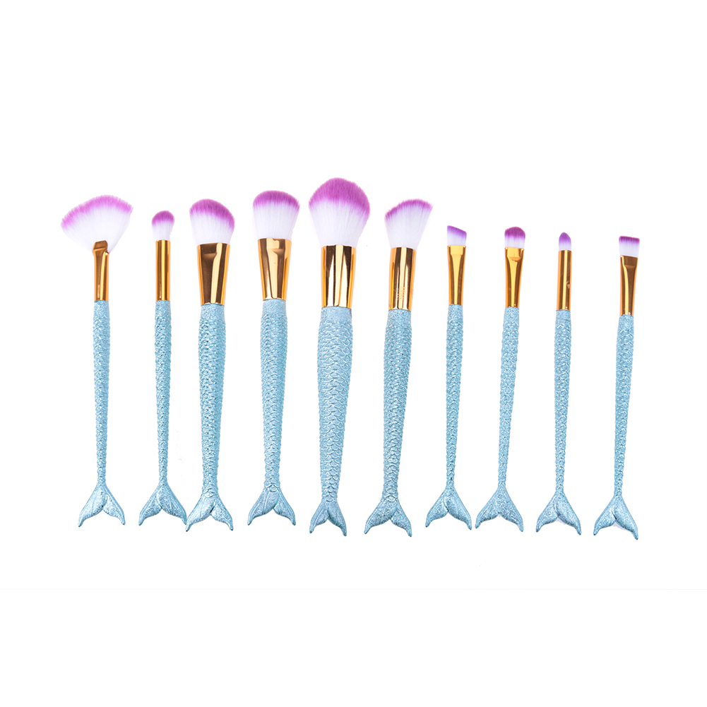 10PCS/Set Mermaid Makeup Brushes Kit Soft Hair Lip Powder Eyeliner Blush Foundation Brush Cosmetic pincel maquiagem Tools 7pcs soft synthetic hair mermaid brush foundation blush cosmetic makeup brush sets fish tail make up brushes pincel maquiagem
