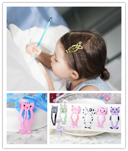 6pcs lot Fashion Girl Animal Hairpin headwear kid's barrettes