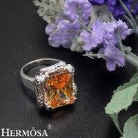 HERMOSA biżuteria wysokiej szlachta uroczy prostokąt HF1898 morganite 925 Srebrny Pierścień Rozmiar 7