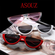 ASOUZ new retro cat eyes ladies sunglasses mens semi-circle triangle fashion glasses crystal transparent UV400