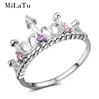 MiLaTu 925 Sterling Silver Bridal Heart Crown Engagement Ring Pink Purple Stone Wedding Bands Gift 2017