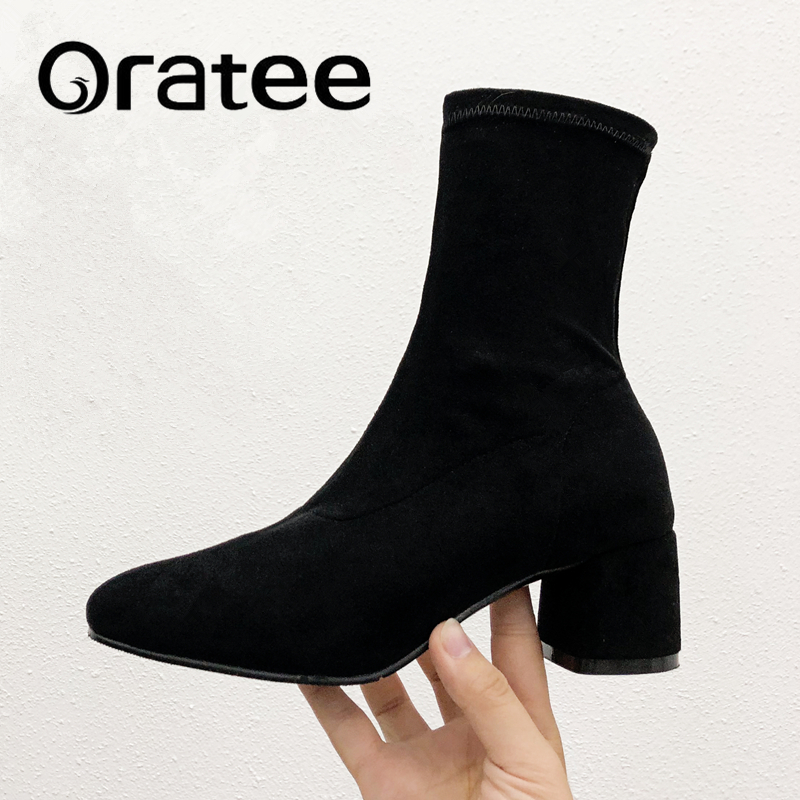 New Stretch socks boots Women Shoes Slip ankle boots spring winter elegant Square high heels shoes