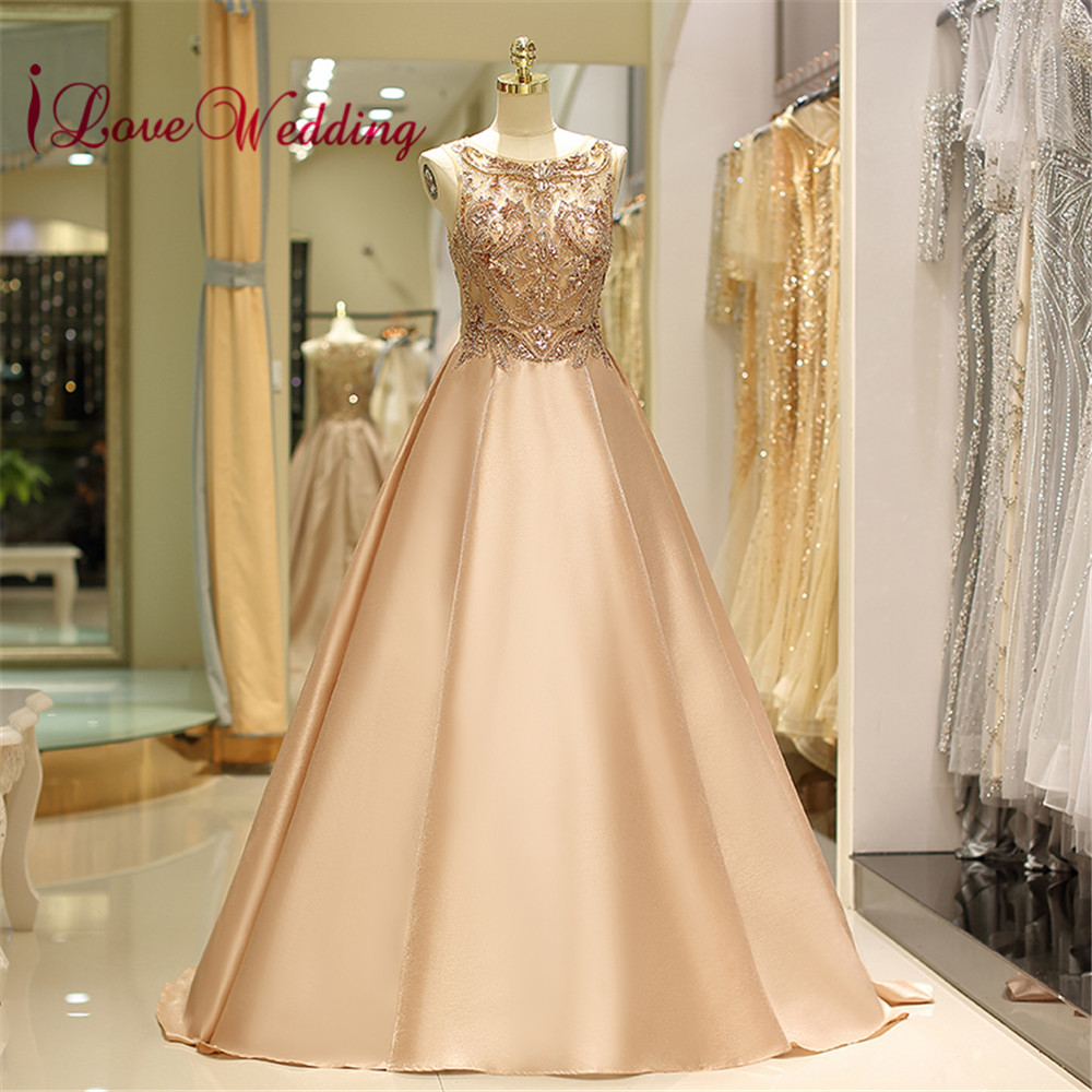 Iloveépouser 2018 robe de soirée Scoop col perles délicates soie Sain une ligne robe de soirée robe formelle robes de soirée longue