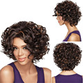 Synthetic Curly Lace Front Wig 16 inches Hair Wavy Curly Ombre Heat Resistant Fiber Wigs Lace Afro Kinky Short Hair Wig NO95