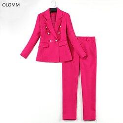 Traje de dos piezas 2019 otoño nueva moda de las mujeres Rosa rojo delgado de doble pecho profesional traje Chaqueta slim pantalones traje