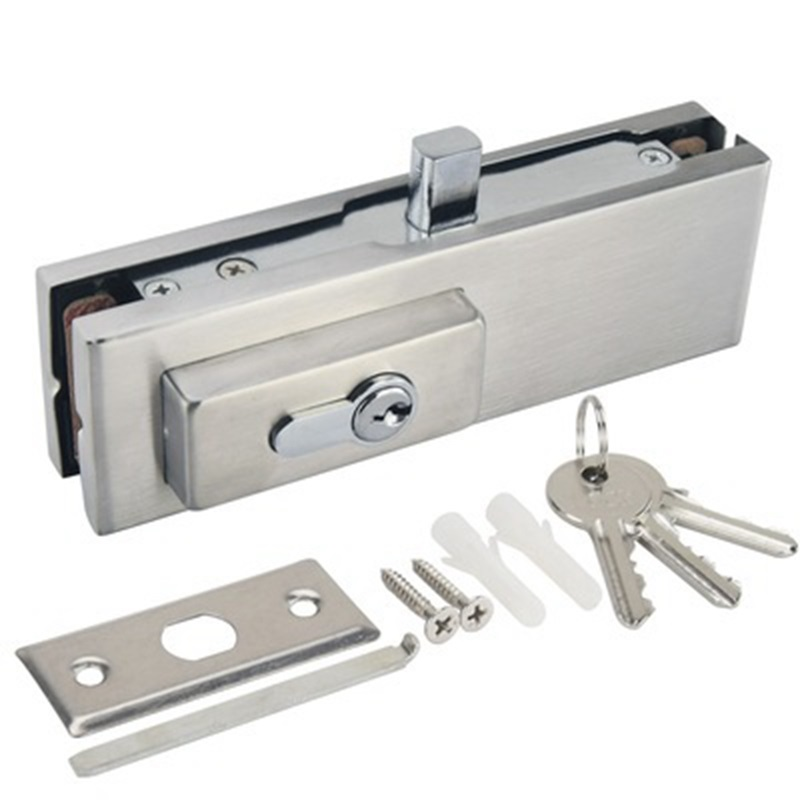 Commercial Durable Stainless Steel 10 Mm -12 Mm Anti-Theft Security Glass Door Lock Frameless Push Sliding Gate Lock With 3 Keys