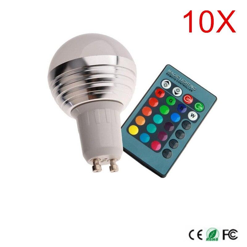 10 pièces GU10 3 W AC100-240V led ampoule lampe avec télécommande multicolore Dimmable led éclairage livraison gratuite