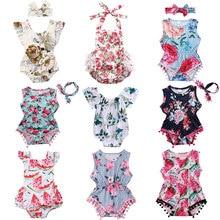 Комбинезон для новорожденных девочек; летняя одежда для малышей; комбинезон с цветочным принтом и кисточками; пляжный костюм; костюмы для маленьких девочек