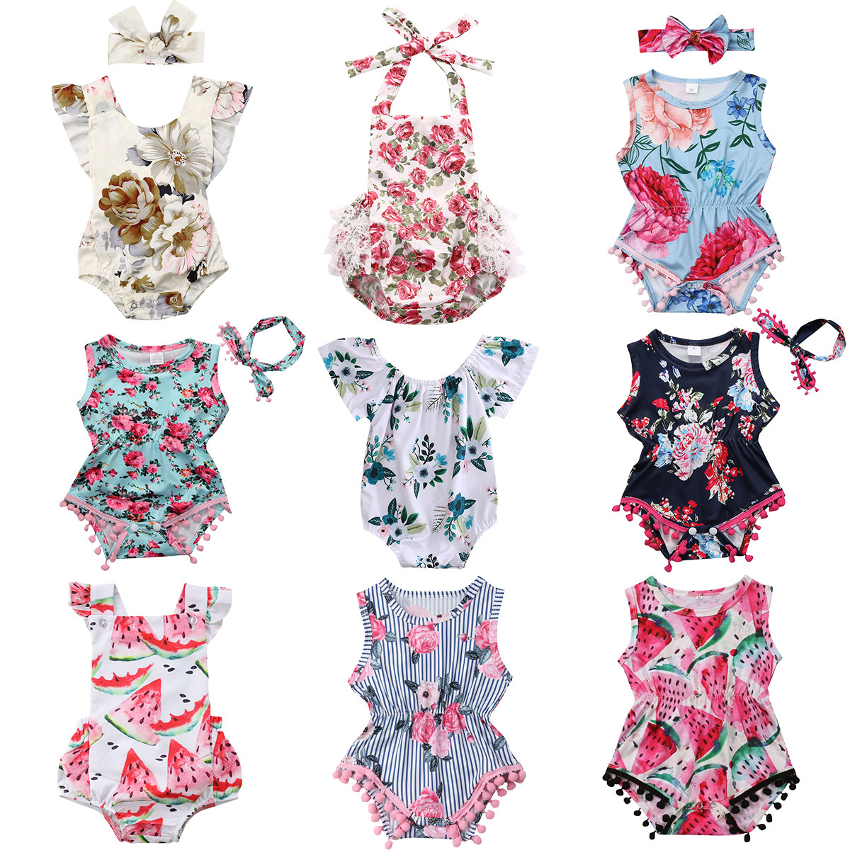 Infant Newborn Baby Girls Romper Summer Baby Clothes Flower Watermelon Print Tassel Jumpsuit Playsuit Sunsuit Baby Girl Costumes