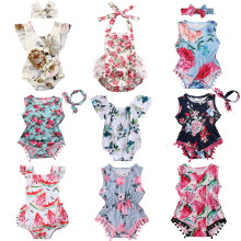 цены Infant Newborn Baby Girls Romper Summer Baby Clothes Flower Watermelon Print Tassel Jumpsuit Playsuit Sunsuit Baby Girl Costumes