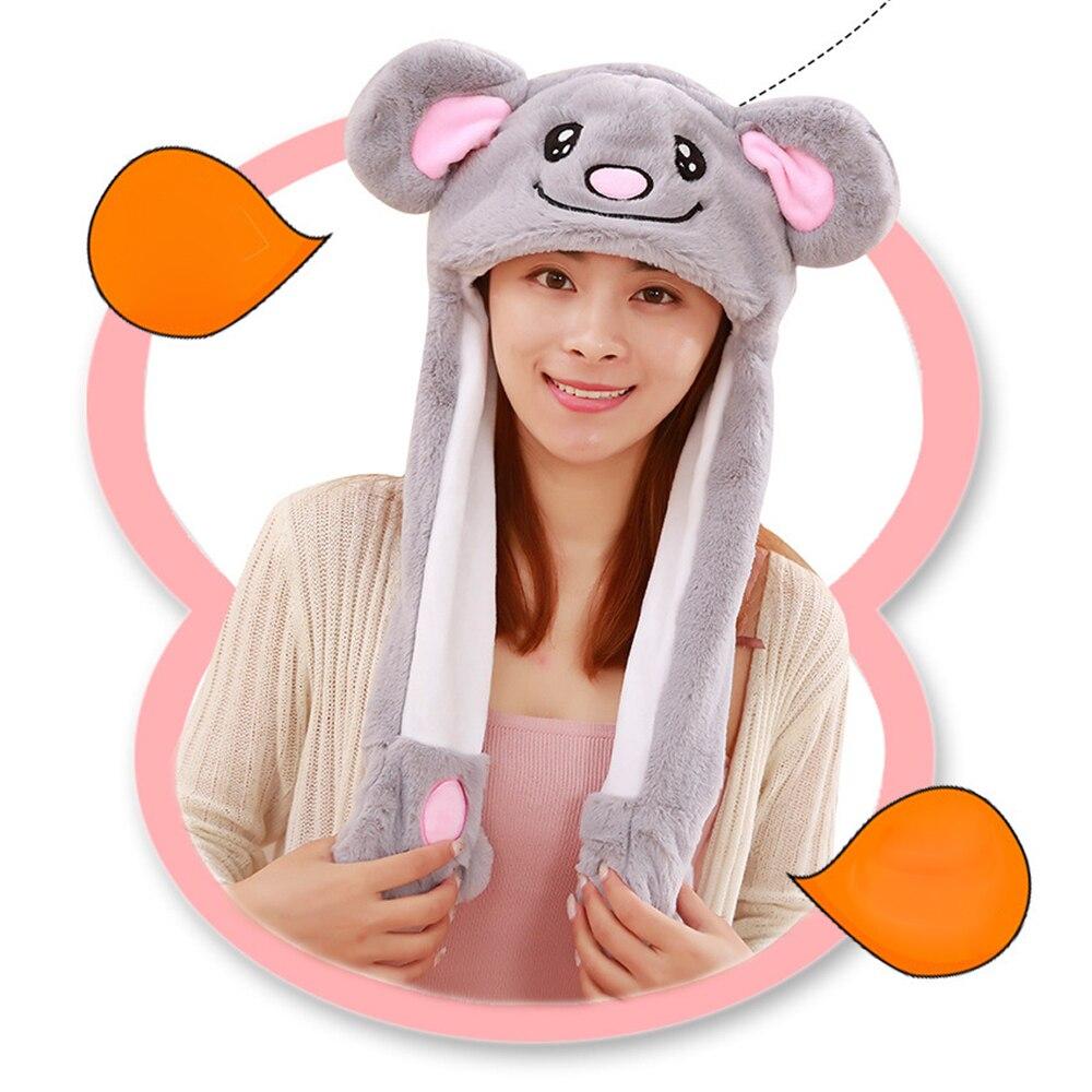 Мультяшные шляпы Детские милые плюшевые Вибрационный шерсть Кепки s Pinch длинные уши кролика будет двигаться детская шапка для мальчиков и
