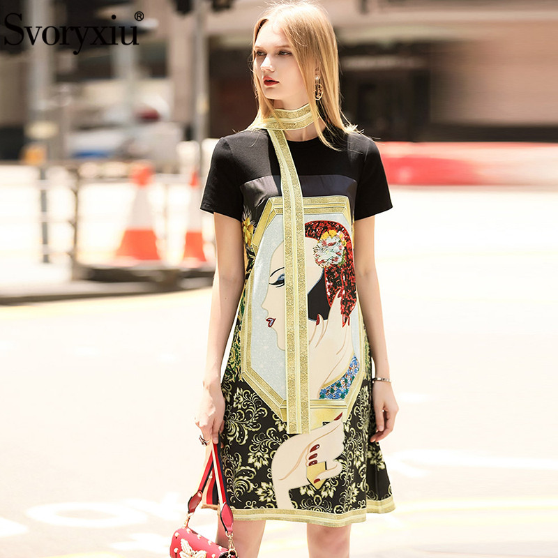 Kadın Giyim'ten Elbiseler'de Svoryxiu Pist Tasarımcısı yaz elbisesi kadın Kısa Kollu O boyun Sıcak Sondaj Karakter Baskılı Gevşek rahat elbise Vestdios'da  Grup 2