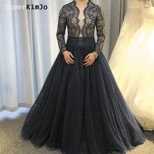 SuperKimJo Vestido De Festa Longo Elegant Prom Dresses Long Sleeve 2019 Lace Applique Beaded Navy Blue Gown Gala