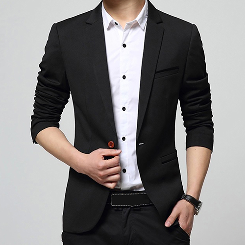 Fashion Men's Formal Suit Coat Long Sleeve Slim Fit One ...