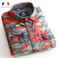 Langmeng 100% Cotton outwear Mens Long Sleeve Casual Camouflage Shirt Men dress shirt Military Tactical Hunt Army Clothing