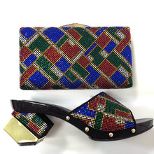 2017 Fashion African font b Shoes b font Italian Sandal And Bag Set For font b