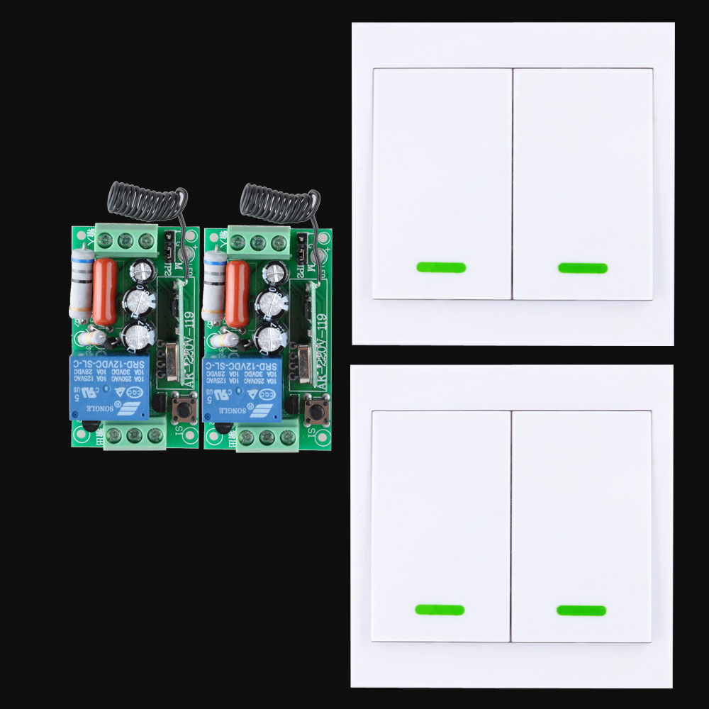 Smart Home 220V Ceiling Lamp Light LED Bulb Remote Control Switch Wireless Wall Pannel Transmitter Input Output 10A RF Receiver mini stable 10a 220v 1ch rf remote control switch system for led bulb light strips receiver 86 wall panel transmitter