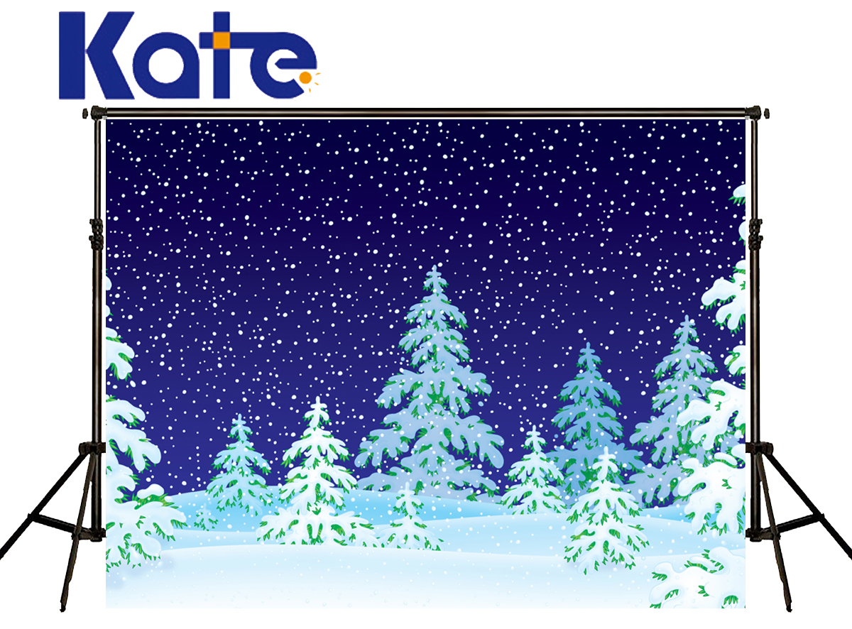 Kate Merry Christmas Backdrop Photography Blue Sky White Snow Green Screen Pine Fotografia Background For Photo Studio Hj02146