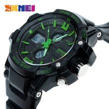 SKMEI Luxury Band Sport Watches Men Dual Display Wristwatches 50M Waterproof Chronograph Shock Resistant Alarm 0990