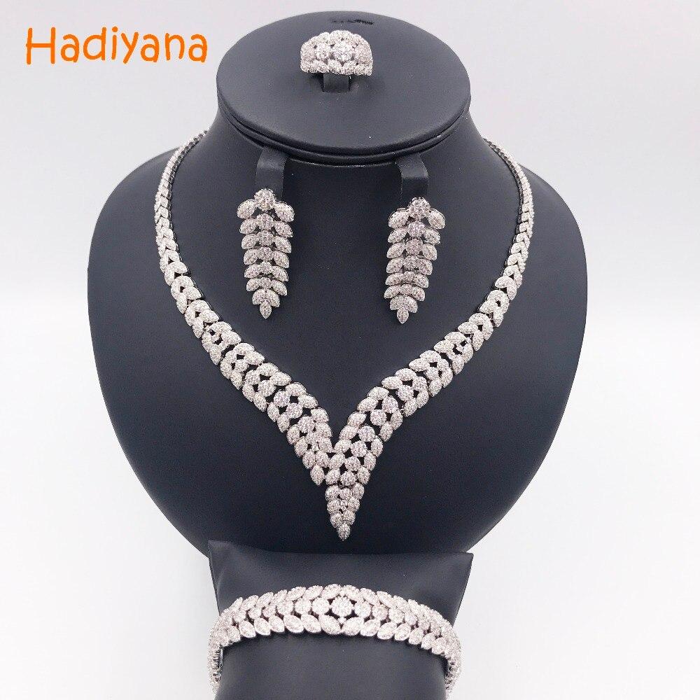 Здесь продается  Hadiyana Shinning Pave CZ 4pcs Jewelry Sets Women Wedding Dubai Zirconia Necklace Jewelry Set With Earrings Bracelet Ring CN300  Ювелирные изделия и часы