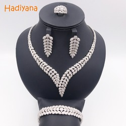 Hadiyana Shinning Pave CZ 4pcs Jewelry Sets Women Wedding Dubai Zirconia Necklace Jewelry Set With Earrings Bracelet Ring CN300