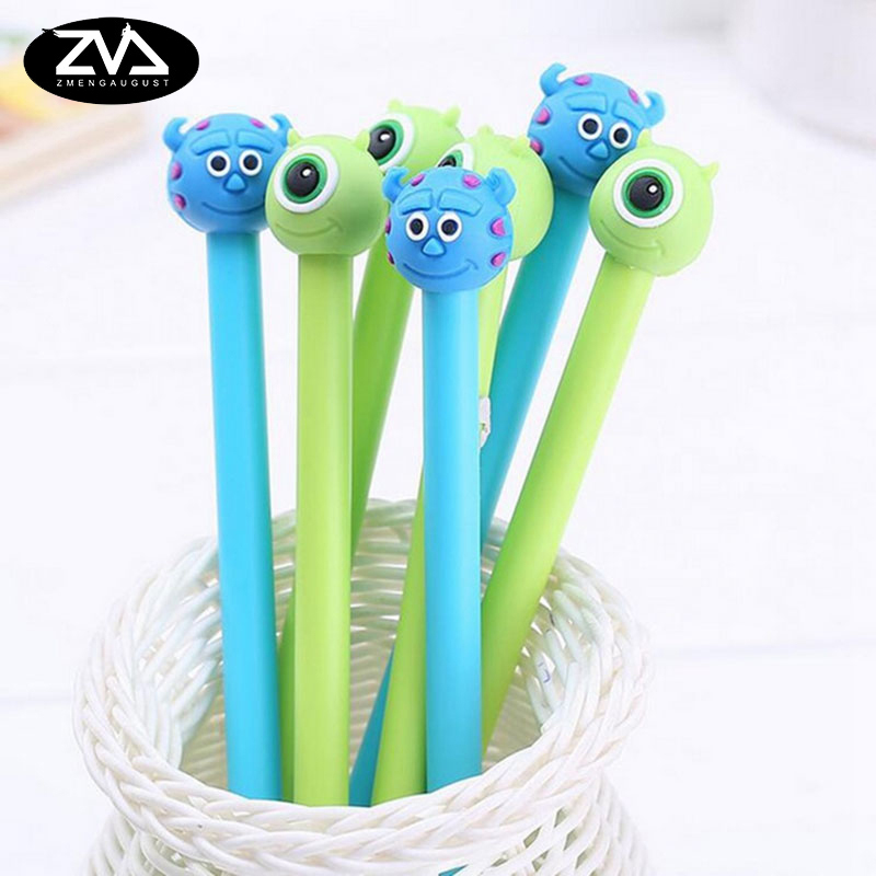 2 pcs/lot Creative cartoon monster gel pen cute Neutral pen stationery canetas material escolar office school supplies papelaria 12pcs lot japan creative cute naughty small bear gel pen good quality school supplies stationery papelaria gt196