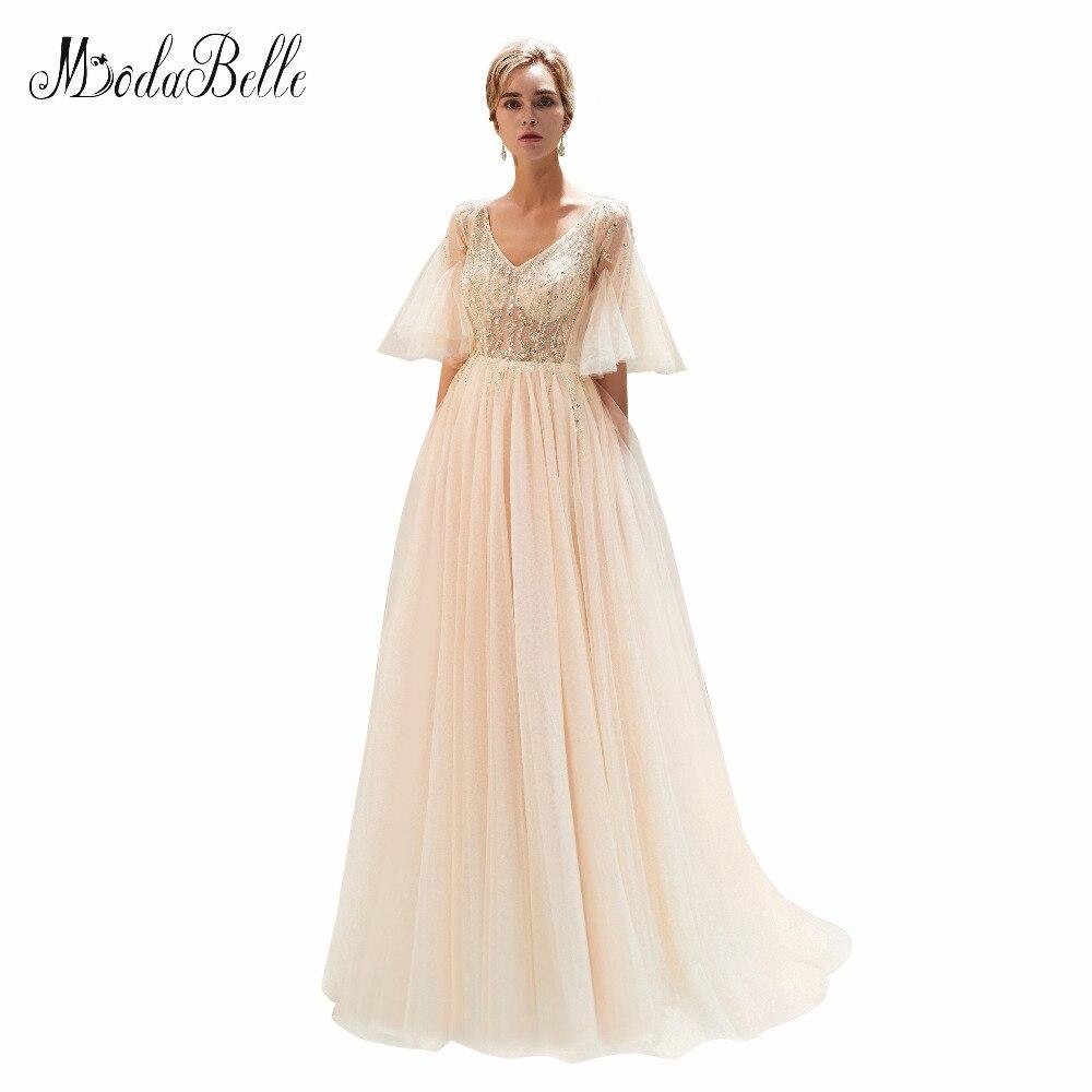 c1c8c0452e698f modabelle Champagne Evening Dresses Lange Jurk Side Slit Light Gray V-Neck  Beaded Evening Gown Vestido Longo De Festa