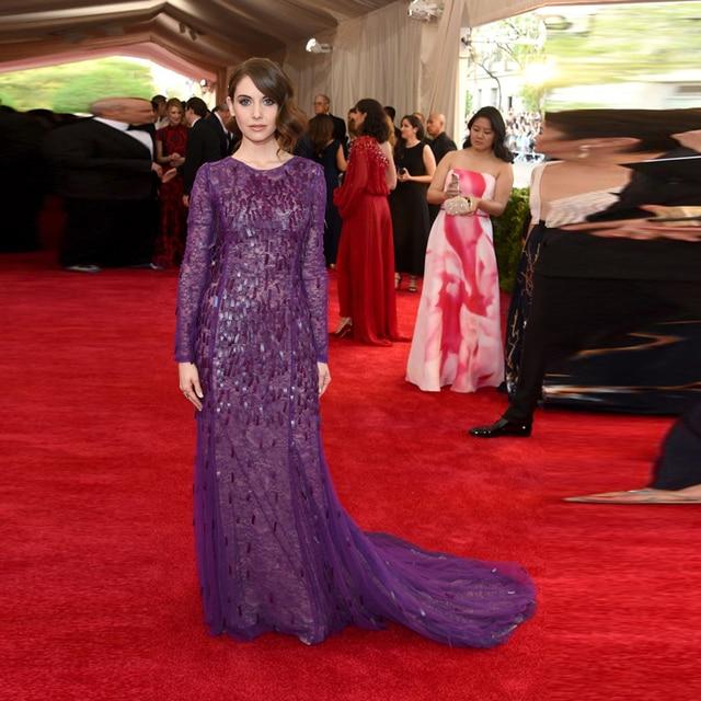 Red Carpet Lace Mermaid Long Sleeve Evening Dress Purple Celebrity ...