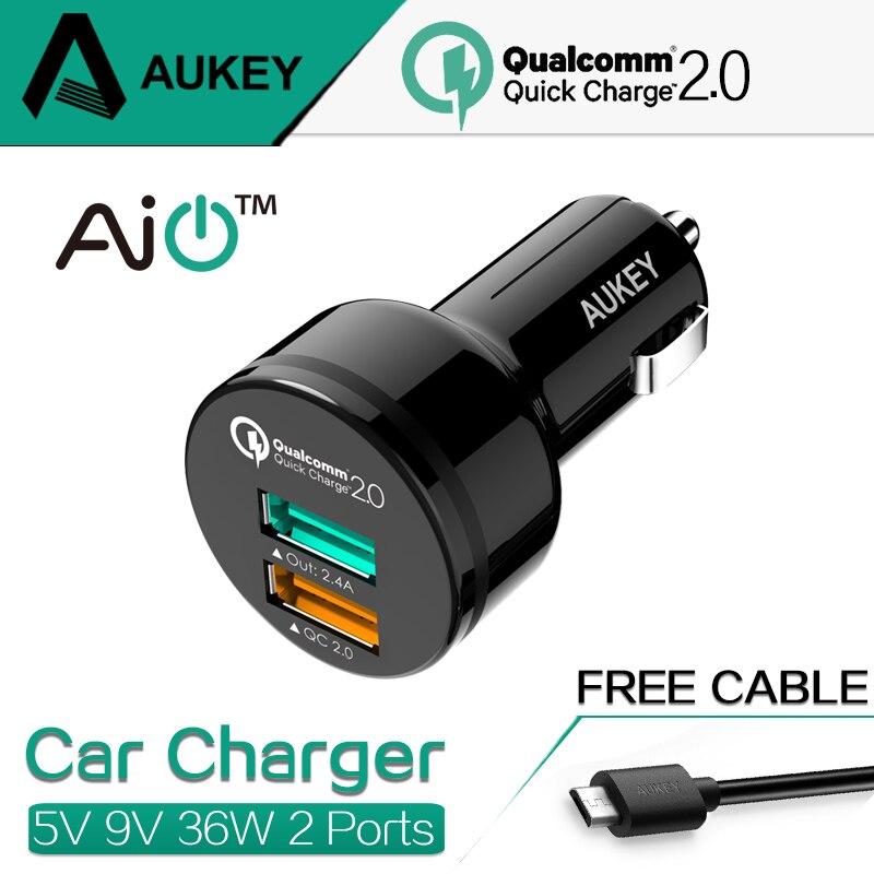 Aukey 100 Original Quick Charge 2 0 Universal Dual USB Fast font b Car b font