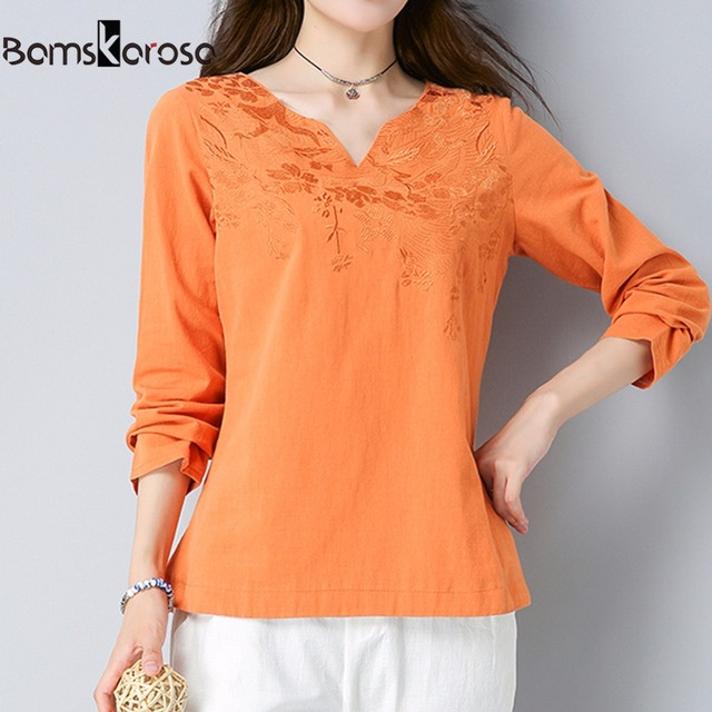 7386a5e80c97 € 13.44 |Nuevo bordado blusa manga larga camisa algodón Lino Mujer Camisas  Blusas Femininas bordado Tops moda femenina ropa en Blusas y camisas de La  ...
