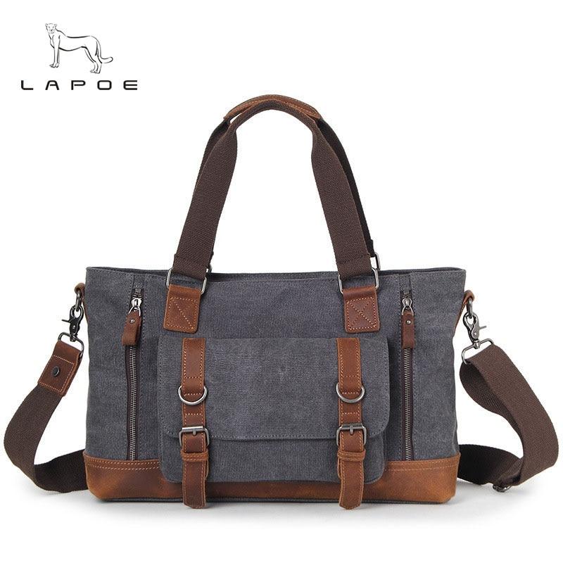 LAPOE Vintage Canvas Men Messenger Bags Multi-Pockets Satchel Shoulder Bags Causal Laptop Travel Bags Teenagers School Bags casual canvas satchel men sling bag