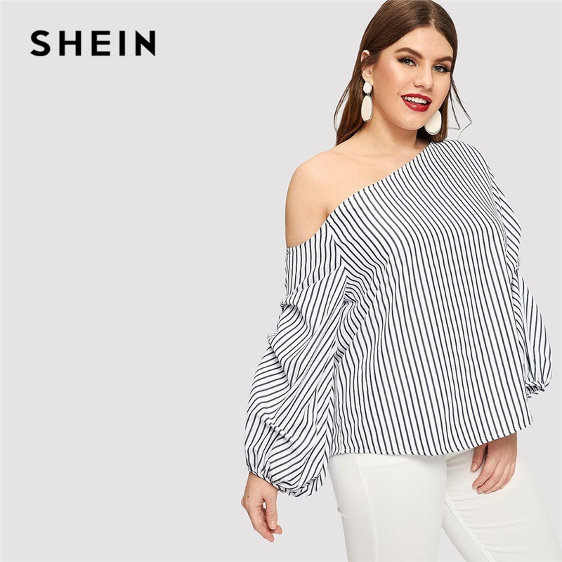 SHEIN Striped Sexy Asymmetric Neck Off Shoulder Lantern Sleeve Plus Size  Blouse Women Spring Summer Pinstripe Top Blouses 3caca2fa6