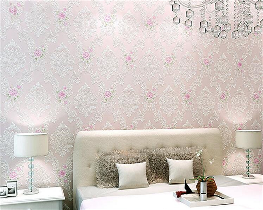 beibehang Pastoral Non-woven Wallpaper Bedroom TV Background Clothing Shop Beauty Shop Pink White papel de parede 3d Wallpaper free shipping hepburn classic black and white photographs women s clothing store cafe background mural non woven wallpaper