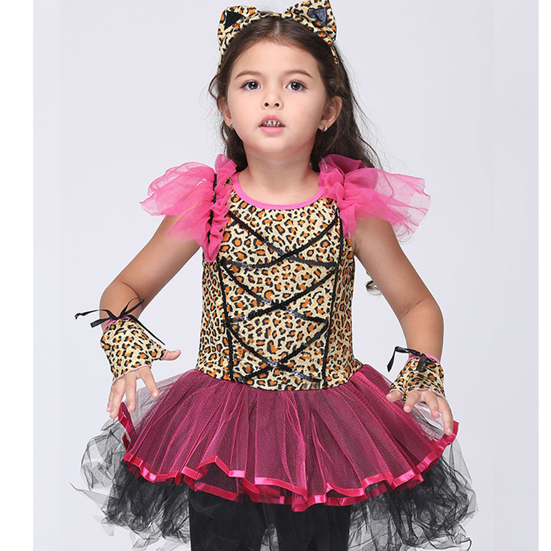 Girls Clothing Halloween Costume For Girls Leopard Cosplay Performance Dance Show Fancy Costumes Children Dress with Headwear superhero halloween costume for girls cosplay performance dance show fancy costumes girls clothing children suit dress for girl