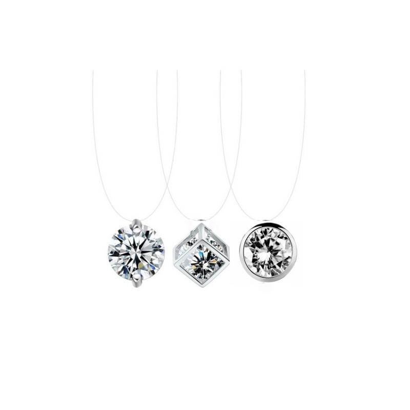 Decorative Crystal Rhinestone Women Necklace Ladies Transparent Fishing Line Necklaces Female Fashion Bling Pendant Gift