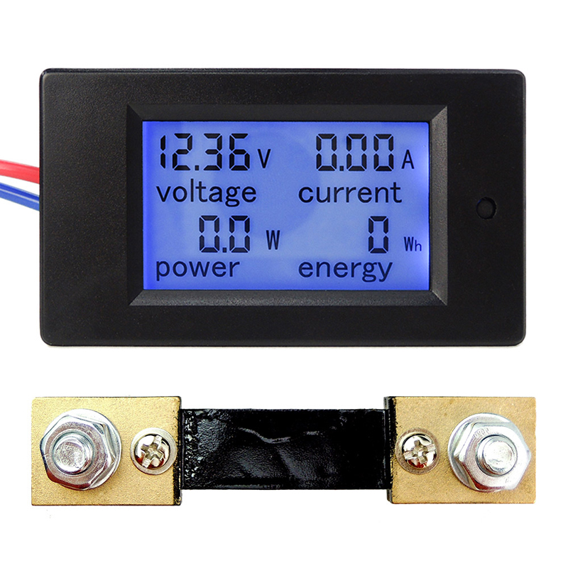 DC 65-100V 0-100A LCD Display Digital Current Voltage Power Energy Meter Multimeter Ammeter Voltmeter w 100A Current Shunt