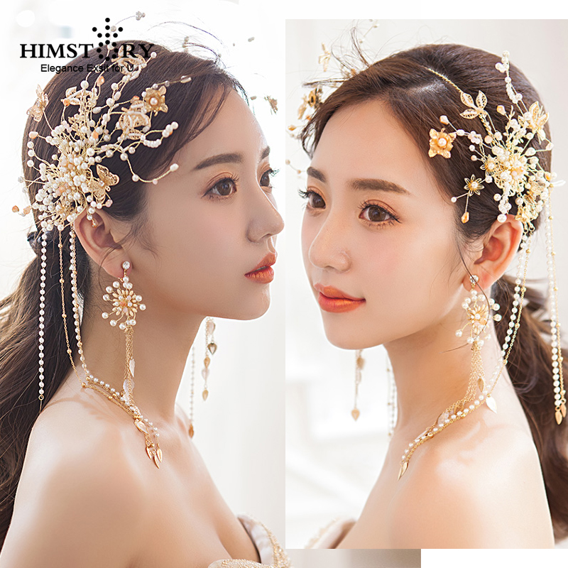 Himstory Luxurious Brides Handmade Gold Flower Butterfly Hairbands Tiara Crown Wedding Bridal TAssel  Headwear Hair AccessoryHimstory Luxurious Brides Handmade Gold Flower Butterfly Hairbands Tiara Crown Wedding Bridal TAssel  Headwear Hair Accessory
