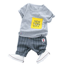 Boys Clothes Set 2018 New Summer 0-3y Fashion Style kids Sets Cotton Material O-neck 18020 Good Quality Clothing Suit